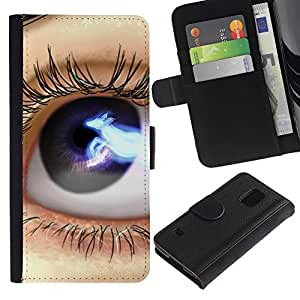 All Phone Most Case / Oferta Especial Cáscara Funda de cuero Monedero Cubierta de proteccion Caso / Wallet Case for Samsung Galaxy S5 V SM-G900 // Eye Blue Black Space Lashes Close Up