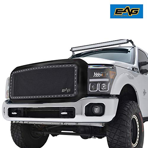 EAG Front Rivet Matte Black SS Wire Mesh Grill W/Shell Fit for 2011-2016 Ford Super Duty F250/F350/F450/F550