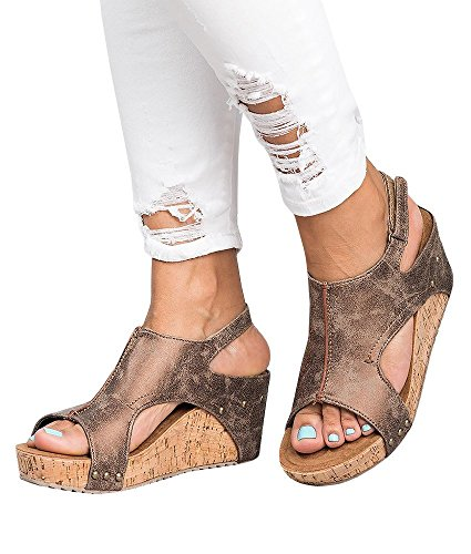 ThusFar Women Casual Sandals Peep Toe Pu Belt Buckle Hook-Loop Wedges Sandals Summer Platform Sandals Brown
