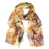 Wrapables Lightweight Sheer Silky Feeling Chiffon Scarf, Yellow Leaves