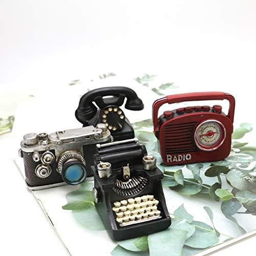 (JETEHO Set of 4 Antique Mini Home Appliance Decoration Telephone/Typewriter/Camera/Sound Player, Creative Retro Mini Ornament for Photo Props Home Decor Tabletop Decoration)