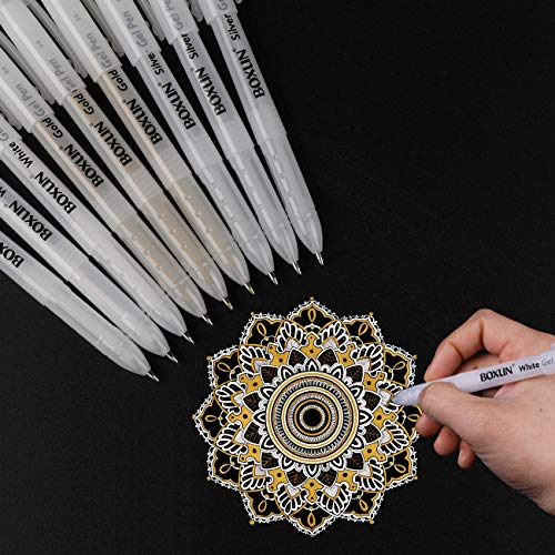 White, Gold and Silver Gel Pen Set for Artist - 3 Colors (9 Pack) Gel Ink Pens for Black Paper Drawing, Sketching, Manga, Illustration