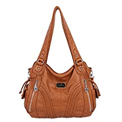 Angelkiss Women Top Handle Satchel Handbags Shoulder Bag Messenger Tote Washed Leather Purses Bag If you are looking for a larger capacity, neutral bag that still has elegance, and will go with the majority of your wardrobe, this is a fantast...