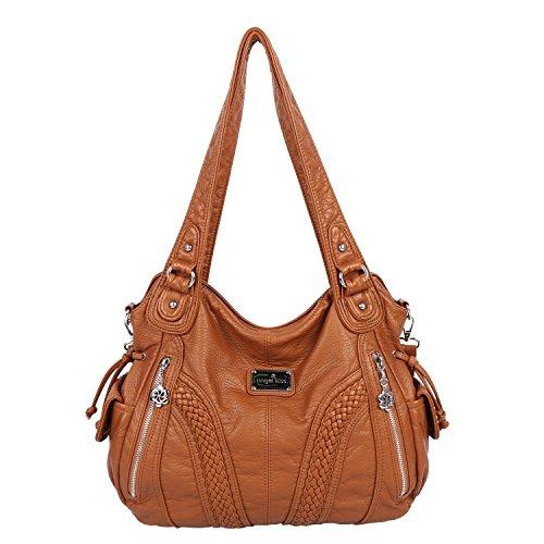 (Angelkiss Women Top Handle Satchel Handbags Shoulder Bag Messenger Tote Washed Leather Purses Bag (Caramel) )