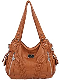 39a9fc8794 Angelkiss Women Top Handle Satchel Handbags Shoulder Bag Messenger Tote  Washed Leather Purses Bag …