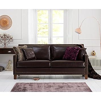 Walberton contemporáneo 3 plazas de Piel Color marrón sofá ...