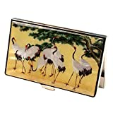 Mother of Pearl Crane Bird Pine Tree Design RFID Blocking Protection Business Credit Name Card Holder Case Metal Stainless Steel Engraved Slim Purse Pocket Cash Money Wallet