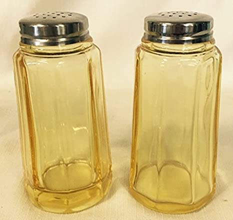 Salt & Pepper Shaker Set - Paneled Pattern - Mosser Glass - American Made  (Amber)