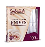 Embellish Cutlery Deluxe Heavy Weight Clear Plastic Knives 100 Knives In A Box
