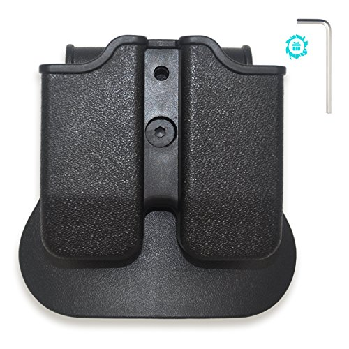 Magazine Case Belt - Elutong Tactical Magazine Holder The Ultimate Double Stack 9mm/.40 cal Magazines, Hunting Belt Case Holster Pouch Cartridge Clip Holder Gun with Paddle Pouch Black(Including Wrench)