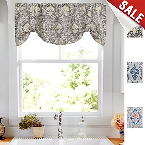 Damask Window Valance - Damask Printed Tie Up Valances for Kitchen Windows Vintage Multicolor Medallion Printed Linen Look Tie-up Valance Curtains Rod Pocket Adjustable Tie Up Shades for Windows (1 Panel, Grey, 20-Inch)