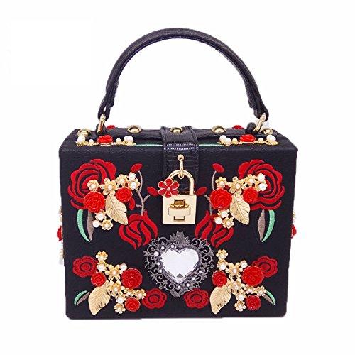 sac de sac main Nouvelle Shimmer brodé sac pour soirée Black femmes de d'embrayage la soirée à boîte main mariage sac à PAXxqAU0