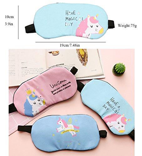 Fashion Unicorn Flamingos 4Pcs Sleep Mask Cover Lightweight Blindfold Soft Eye Mask for Men Women Kids by Yosbabe (Image #4)