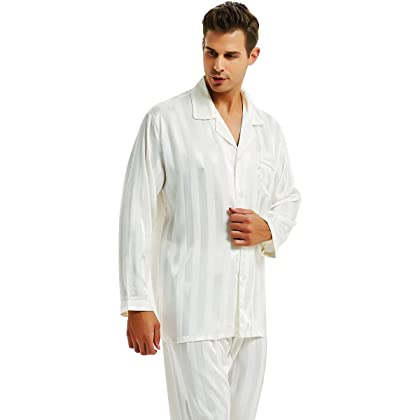 Mens Silk Satin Pajamas Set Sleepwear Loungewear White XL cf30e6056