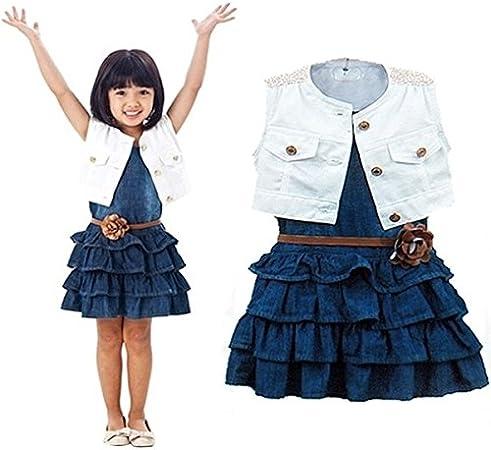Vestido Chaqueta 2 Piezas Trajes Para Ninas Verano Modelos Chaleco Pantalones Vaqueros Caliente Venta Ninos Ninas Ropa Vaqueros Ajuste 2 7 Anos Amazon Es Hogar