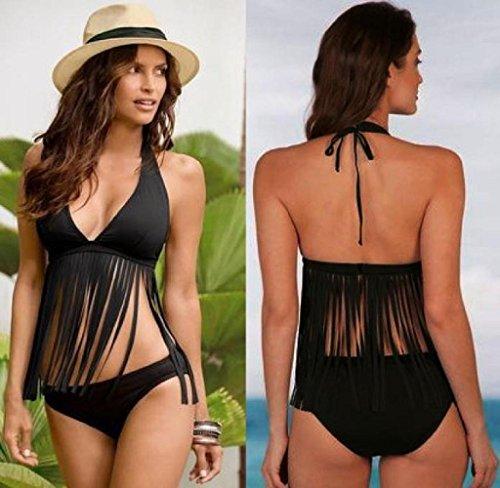 Costumi Due Sexy Donna Estivo Costume Beachwear Bikini up Donna Vacanza Swimsuit Pezzi Mecohe da Nero Push Bagno Imbottito Fasciatura ISYqw6fp