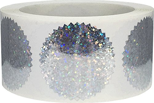 Holographic Silver Sparkle Envelope Seals Starburst Color Coding Labels Certificate Award Stickers 2 Inch Round Circle Dots 500 Total Adhesive Stickers On A Roll ()