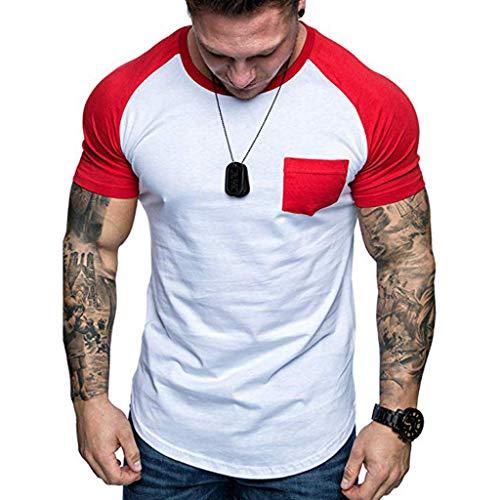 Big Sale! BBesty Fashion Men's Summer Slim Fit Patchwork Colorblocking Pocket Short Sleeved T-Shirt Top Blouse -
