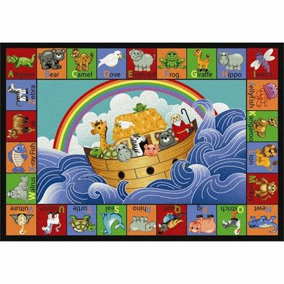 Educational Faith Based Noah's Alphabet Animals Kids Rug Rug Size: 10'9'' x 13'2'' by Joy Carpets