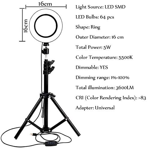 FDGBCF LED Ring Light Photo Studio Camera Light Photography Dimmable Video Light for Makeup Selfie with Tripod Phone Holder,D