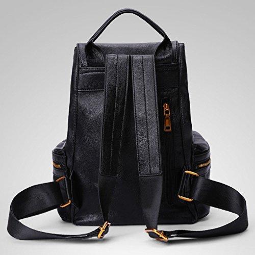 à Pour Sac à Bandoulière Sac Dos De Délicat Cuir Black En ADEMI De Voyage Daypack Femmes Style Sac wBq4PP