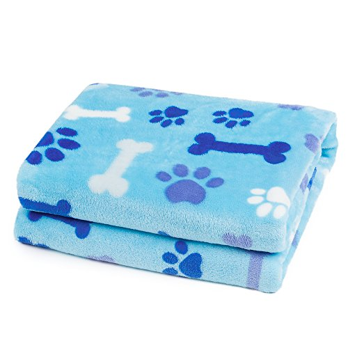 Allisandro Dog Blanket Super Soft and Fluffy Premium Flannel Fleece Cat Puppy Throw Blanket, Appealing and Cute Paw Prints Design, 31x24 Blue