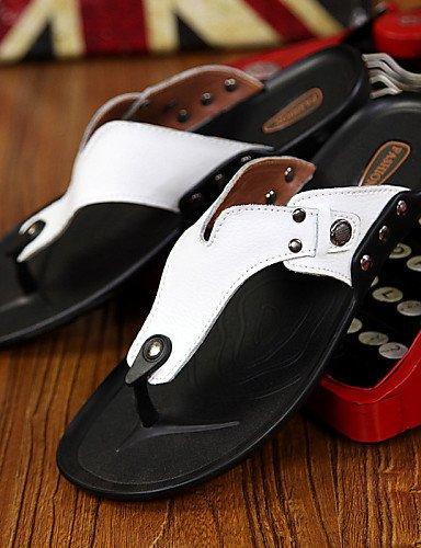 NTX/ Men's Shoes Outdoor / Casual Leather Flip-Flops Black / Yellow / White / Orange yellow-us9.5 / eu42 / uk8.5 / cn43 evEonX