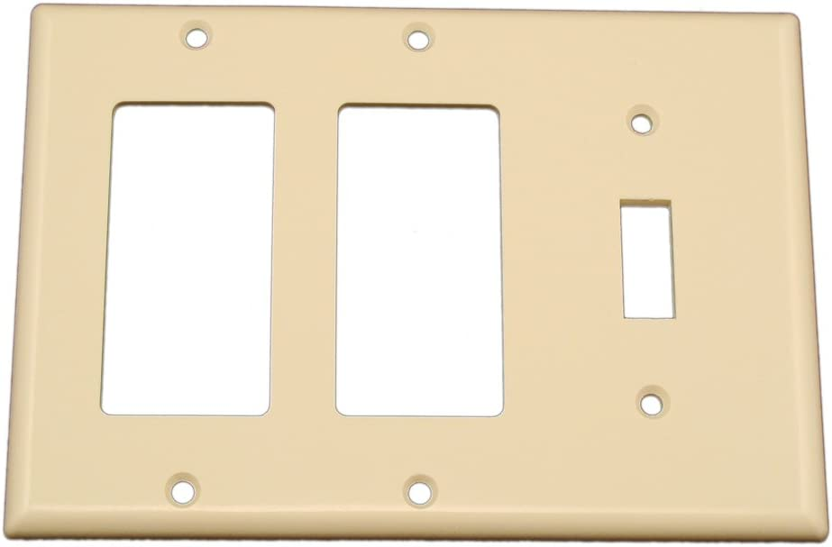 Leviton 80431-T 3-Gang 1-Toggle 2-Decora/GFCI Device Combination Wallplate, Standard Size, Thermoset, Device Mount, Light Almond
