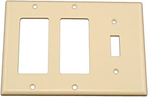 Leviton 80431-T 3-Gang 1-Toggle 2-Decora/GFCI Device Combination Wallplate, Standard Size, Thermoset, Device Mount, Light Almond