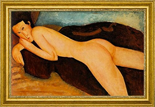 "Nu couch de Dos Reclining Nude from the Back by Amedeo Modigliani - 19"" x 28"" Framed Premium Canvas Print"