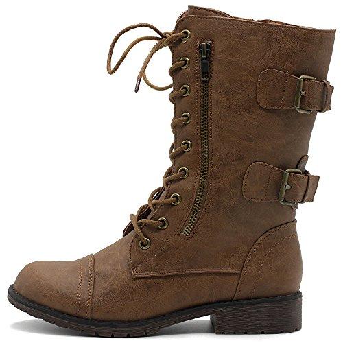- Ollio Women's Shoes Faux Leather Buckle Zipper Accent Lace up Combat Ankle Boots TW00B01 (8.5 B(M) US, Tan-PU)