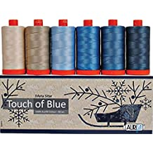 Laundry Basket Quilts Touch of Blue Aurifil Thread Kit 6 Large Spools 50 Weight ES50TB6
