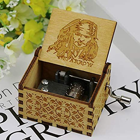 WZZDWooden Diy Music Box Classical Carved Hand-cranked Wooden Music Box sun