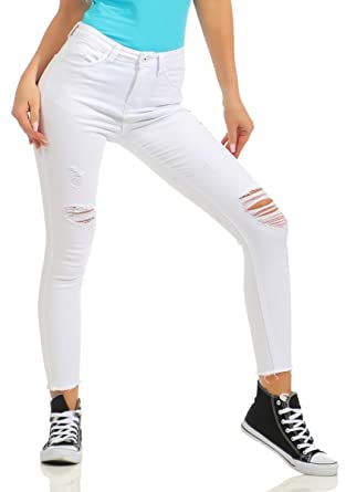 e59693bf5896 Fashion4Young Damen Jeans Slimline Hose Damenjeans Stretch Risse Cut-Outs  Treggings (weiß, XS
