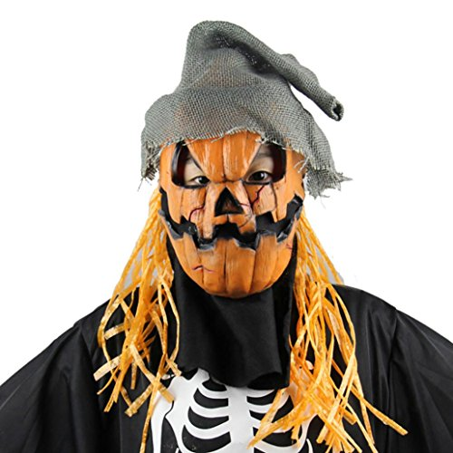 Deluxe Scarecrow Mask (Womail Halloween Mask Pumpkin Scarecrow Terror Overhead Mask for Party)