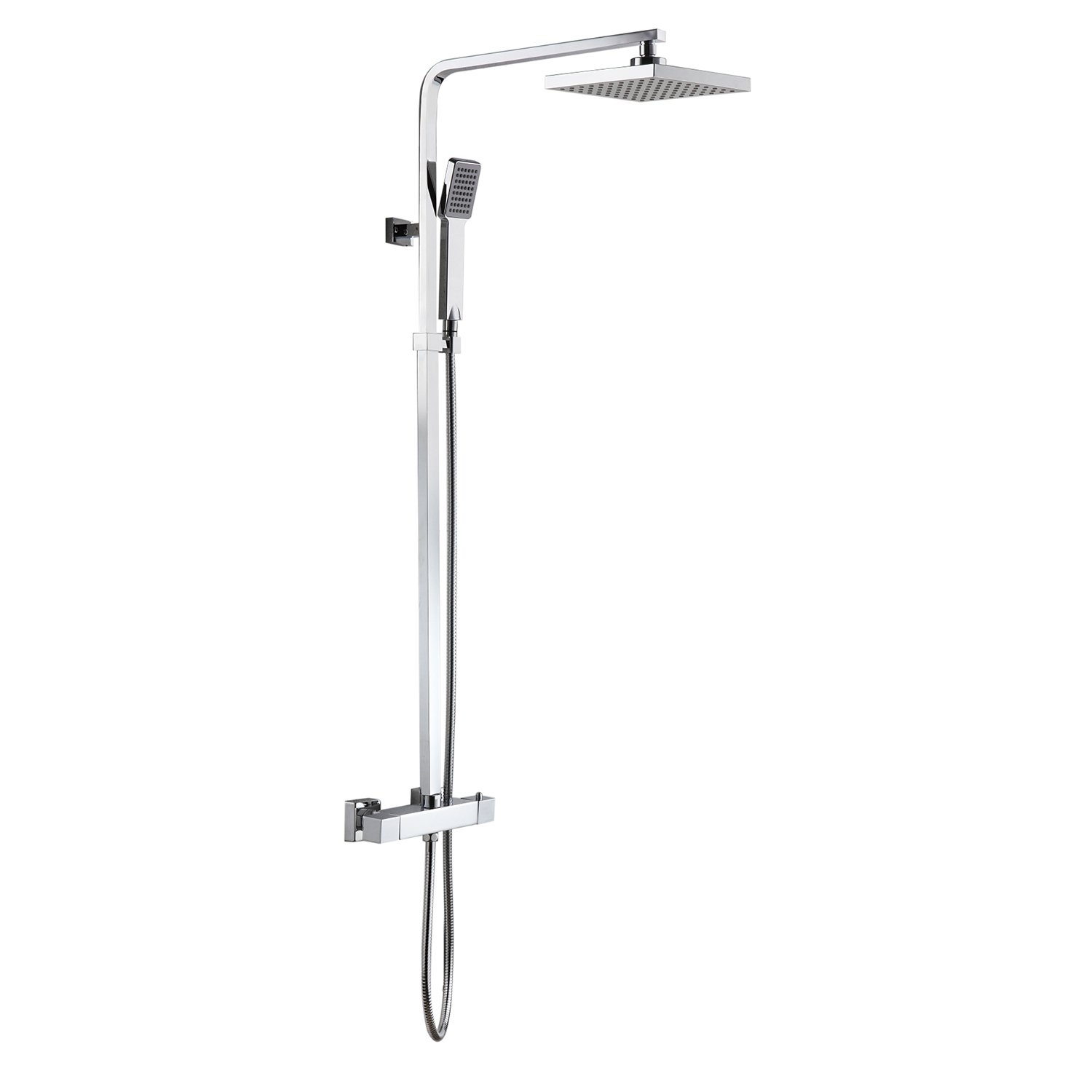 Square Thermostatic Bar Mixer Shower Set Head + Handset Hapilife