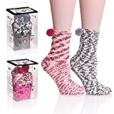 AOXION 2 Pairs Womens Fuzzy Warm Microfiber Cute Colorful Winter Slipper Socks With Gift Box