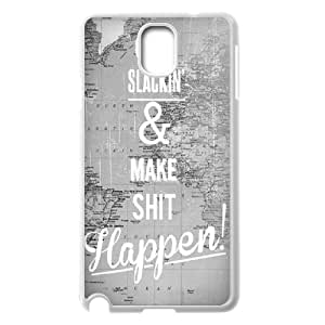 [Positive Quotes] Quit Slackin And Make Shit Happen Case For Samsung Galaxy Note 3, Samsung Galaxy Note 3 Case Kawaii Protective Cute For Girls {White}