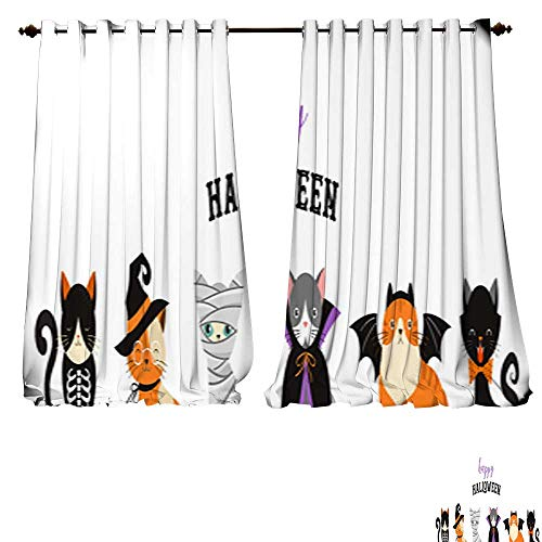 DESPKON-HOME Decor Curtains by Happy Halloween Cats in Monsters Costumes Halloween Party Vector Illustration Banner Elements set1 Adjustable Tie Up Shade Rod Pocket Curtain -W108 x L84/Pair ()