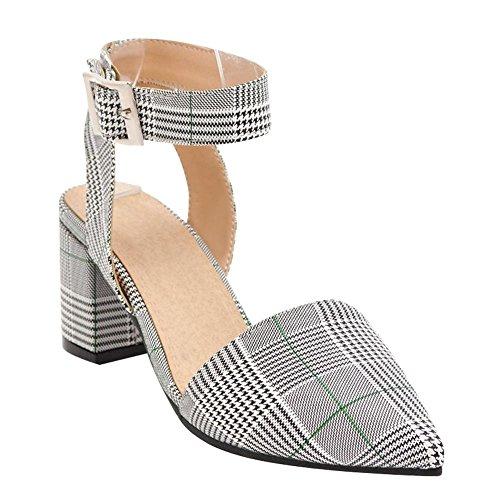 Carolbar Women's Fashion Plaid Pointed Toe High Heel Buckle Sandals Green