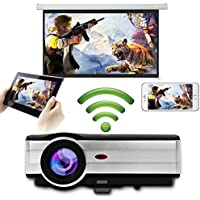 HD Wireless Android LCD Projector Airplay Miracast Support 1080P HDMI 3500 Lumens WXGA LED Proyector Lamp-life 50000hrs- Multimedia Digital WiFi Projector for Tablet Smartphone Blu-ray Player XBox PC