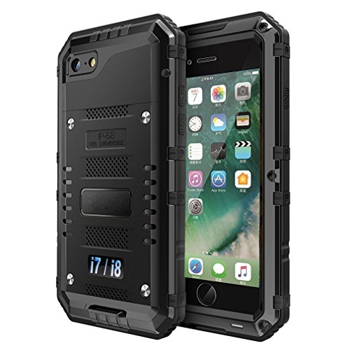 iPhone 7/8 Waterproof Case, CarterLily Underwater Full Body Heavy Duty with Built-in Screen Snowproof Shockproof Dropproof Tough Rugged Hybrid Hard Military Cover for Apple iPhone 7 8 (Black)