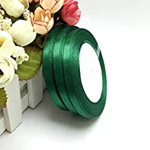 1 Pc 25 Yard Satin Ribbon 1/4 inch Satin Ribbon for Sewing Single Face Satin Ribbon 25 Yards/Roll Color Gift Packing Wedding Decor, DIY Dress, Flower, Postcard, Hairband, Wrapping (Green)