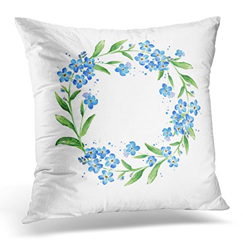 Sdamase Throw Pillow Cover Blue Watercolour Floral Forget Me Not Flower Round Watercolor Copy Space Wreath Decorative Pillow Case Home Decor Square 18