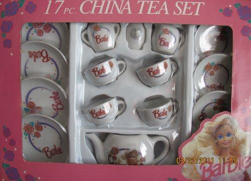 17 Piece Porcelain (Barbie 17 Piece CHINA TEA SET - Child Size Set w Tea Pot, Cups, Saucers, Plates & More)