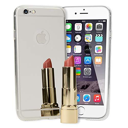 NALIA Funda Espejo Compatible con iPhone 6 6S, Protectora Movil Carcasa Silicona Ultra-Fina Gel Bumper Mirror Case, Goma Cubierta Telefono Cobertura Delgado Ligera Phone Cover, ColorPlata