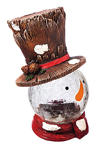 New Creative Snowman in Top Hat Color Changing Lighted Polystone Statuary