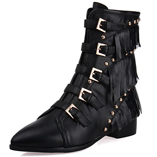 Handmade Leather Tassels Pointed Block Dress Studded Booties Genuine with Seven tassels with Heel Low Nine Buckles Ankle Women's Toe gfqPWE