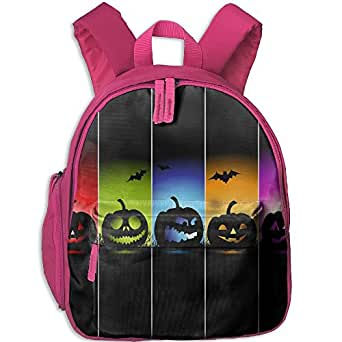 Kid Halloween Color Pumpkin Bat Shoulder Backpack Bookbag