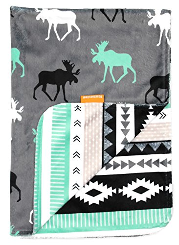 Dear Baby Gear Deluxe Baby Blankets, Custom Minky Print Black, Grey, Mint Moose, Aztec (Customs For Babies)